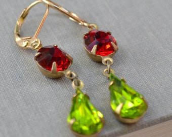 Red and Green Estate Rhinestone Earrings, Lever Back, Ruby Red and Peridot Green Glass Rhinestone, Christmas Earrings