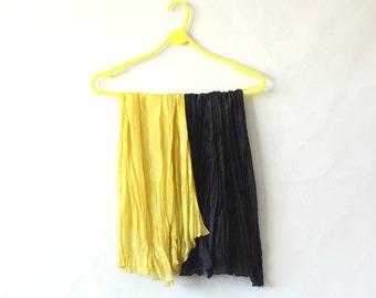 Yellow Silk Scarf Dark Blue Silk scarf plain simple minimal  naturally dyed women gift urban chic 2 in 1