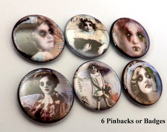 Goth Horror Macabre Faces PINBACK pin badges buttons creepy vampire children magnets halloween flair party favors stocking stuffers gifts