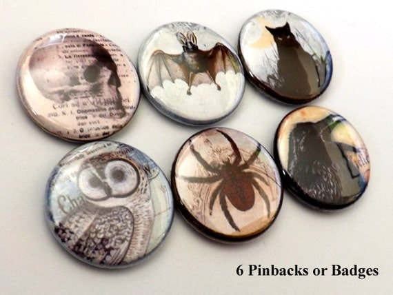 Goth Horror Macabre PINBACKS pins badges buttons spider owl skull hand crow cat bat halloween flair party favor stocking stuffer magnet gift