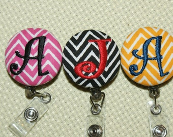 Many fabrics to design YOUR Badge Reel. Monogrammed single letter