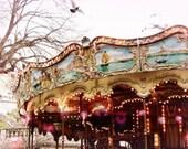 "Carousel in Paris - pink lights - aqua blue red gold sparkle - Paris photography - Paris wall art ""Carousel at Sacre Coeur"""