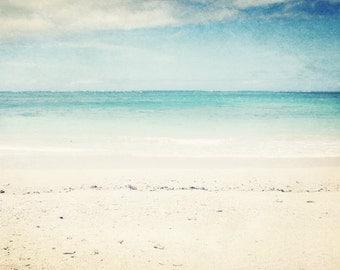 """Beach ocean photography print, pale aqua blue tropical Hawaii decor white sand minimal wall art """"In the Clear"""""""