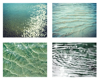 beach photography set | wall art | water ripples | sparkle bokeh | dark teal green | ocean photo set | beach cottage decor | four prints