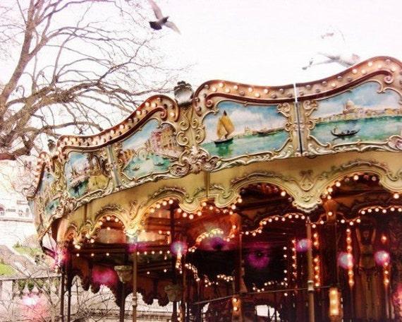 Carousel in Paris, pink lights, aqua blue red gold sparkle, Paris photography, Paris wall art  'Carousel at Sacre Coeur'