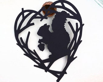 Squirrel Silhouette Scherenschnitte Original Cut Paper Squirrel Art Acorn Love Heart Tree Branches Valentines Day