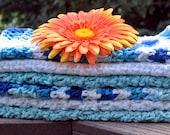 Cotton, Crochet Washcloths, Dishcloths, Handmade Kitchen Dish Towel Set, Eco Friendly, Blue and White, Dish Towel, Bathroom, Washcloths