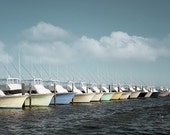 Fishing Boats Photograph, harbor inlet nautical ocean coastal sea dock clouds pastel blue green teal, 8x12, 12x18 - Boats in the Harbor