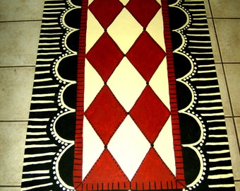 FLOORCLOTH  FRENCH COUNTRY hand painted, originally designed rug  3'x6'