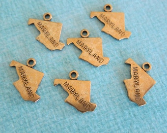 SALE 6 Brass Maryland Charms 3210MD