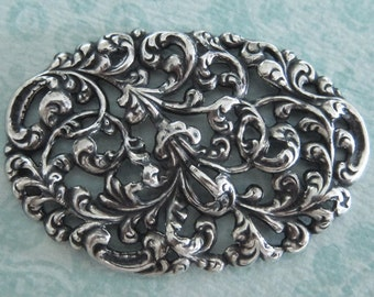 Large Ornate Silver Filigree Finding 3291