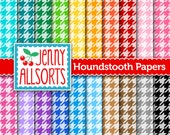 Houndstooth Digital Paper 20 Sheets in Rainbow Colors - for invites, card making, digital scrapbooking - Instant Download