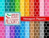 Hexagons Digital Papers in Bright Colors for Scrapbooking, Papercraft and Digital Design - 20 Sheets - Instant Download
