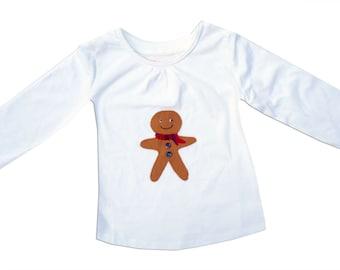 Gingerbread Man Girls Christmas Tee Shirt / Xmas T-Shirt / Top / Children's Festive Clothes