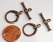 10 sets of Antiqued Copper fancy toggle clasps 18x15mm