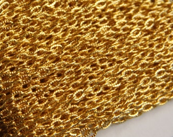 45 ft of gold plated texture cable chain 3X5mm- unsoldered, gold chain, texture chain