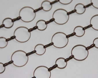Close out  5 ft of Antiqued Copper circle links chain 8mm-12mm