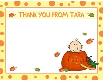 20 Personalized Baby Shower Thank You Cards -   Little Pumpkin