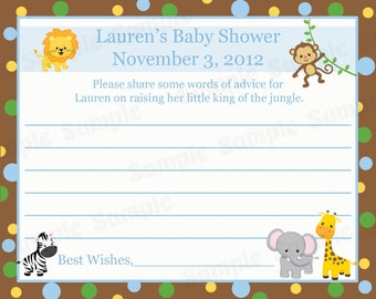 24 Personalized Baby Shower Advice Cards   - Zoo Animals