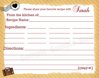 50 Personalized Recipe Cards   - Love is Everywhere Design