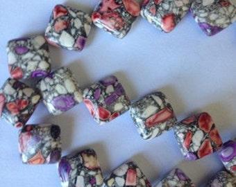 14mm Purple and Gray Multicolor Turkey Turquoise Gemstone Loose Bead 15''