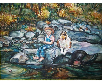 GONE FISHING  -  11x15 original painting landscape watercolor OOAK, Country, Boy, Dog, Collie, Creek, Stream, Fishing, River
