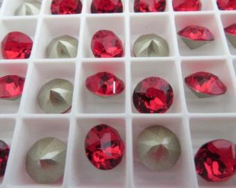 18 Light Siam Foiled Swarovski Crystal Chaton Stone 1088 39ss 8mm