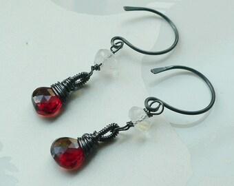 Garnet Earrings, Moonstone Earrings, Oxidized Earrings, Garnet and Moonstone Oxidized Sterling Earrings