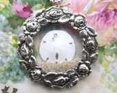 Real Sand Dollar - Ocean - Beach - Waves - Wedding Beach Party - Roses Wreath Frame - Antique Pocket Watch Crystals