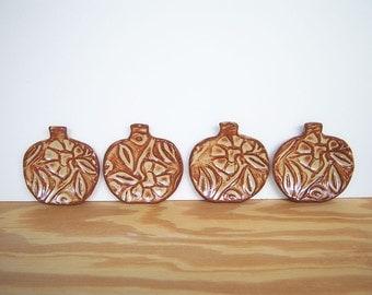 Stamped Ceramic Pumpkin Trinket Dishes in Shino Glaze - Set of 4
