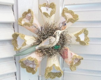Vintage Victorian Style Taupe Beige Gold Bird Star Snowflake Wreath Christmas Ornament German Glass Glitter