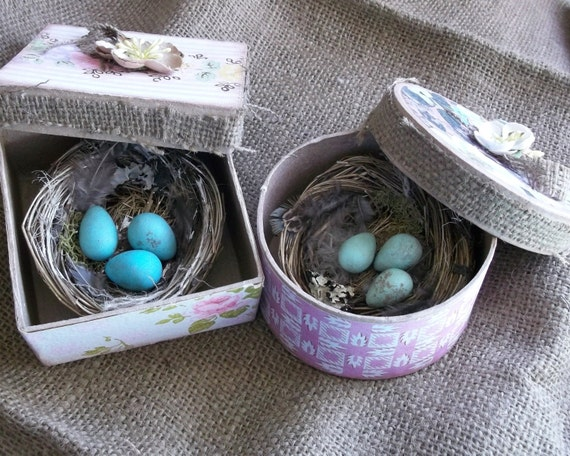 Beautiful Shabby French Cottage Robin Eggs and Nest in Gift box Great Wedding Favors or Gift