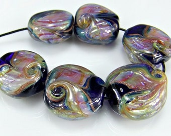 Blue Pink Purple Glass Lampwork  Bead Ser SRA Lampwork Beads