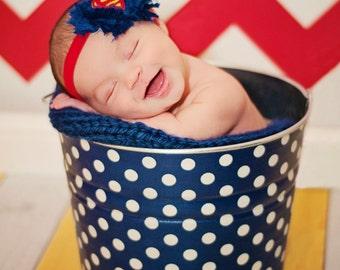 Lil Superhero Newborn Baby Photo Prop Galvanized Bucket  Anchor Blue and White Polka Dot