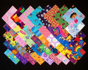 I SPY for GIRLS 100% cotton Prewashed Multi-Color 40 4 inch Quilt Fabric Squares (#stk21A)