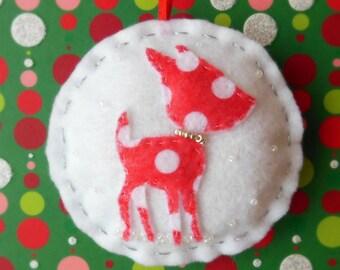Woodland Deer - Vintage Holiday -  Felt Christmas Ornament