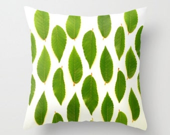 A Few Good Leaves Pillow Cover Natural History Green Leaves Nature Decor Woodland Forest Pillow