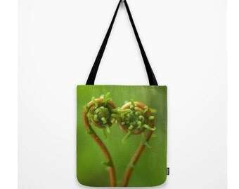 Fern Woodland Bag Forest Bag Curled Ferns Heart Shaped Nature Woodland Purse Natural History