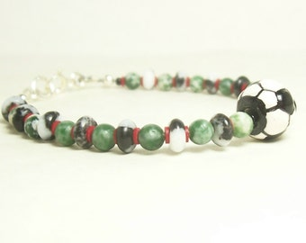 Soccer, Football Bracelet World Cup - Black, White, Green and Red with Sterling Silver