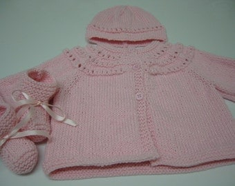 Baby Sweater Set, Hand Knitted Sweater Hat Booties, Newborn, Reborn, Baby Girl, Baby Shower Gift, Christening, Baptism