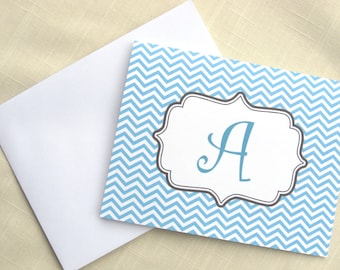 Personalized Chevron Note Cards - Set of 8 - Choose color