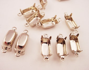 18 Silver Tone Octagon Prong Settings 10x5 2 Ring Closed Back