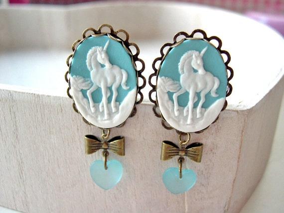Unicorn  clip earrings kawaii blue gothic lolita heart fantasy elegant magical