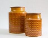 Pair of Hornsea Saffron canisters/lidded jars