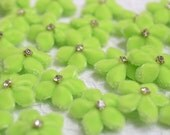 Set of 12pcs handmade velvet flower--apple green (VT19)