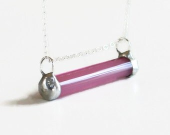 Pink Stained Glass Bar Necklace Sterling Silver Horizontal Vivacious Fuchsia