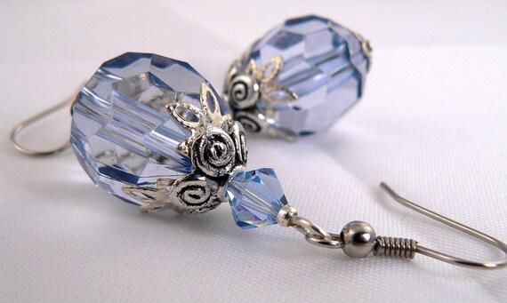 Light Blue Earring Dangles, Blue Crystal Earrings, Light Blue Sparkle Earrings, Rustic Silver Earrings, Lightweight Blue Earring Drops (E63)