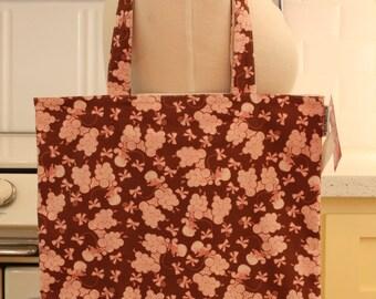 Book Bag Tote Purse - Pink Poodles on Brown
