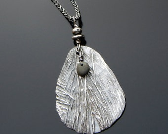 Equisetum Fine Silver Pendant; Lake Superior pebble; Beach Stone