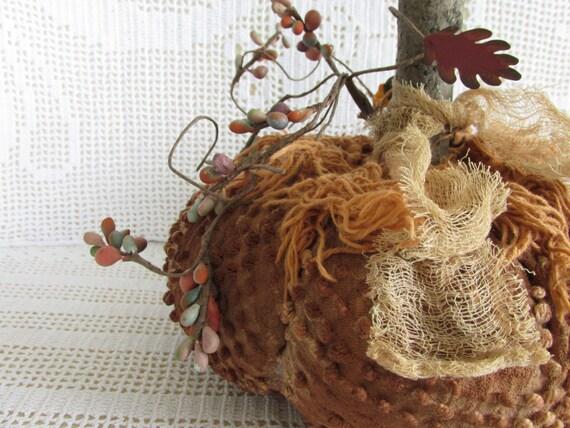 Primitive Chenille Pumpkin, Fall Bowl Filler, Orange Fabric Pumpkin Tuck,  Autumn Harvest Rustic Chenille Pumpkin, Thanksgiving, Halloween